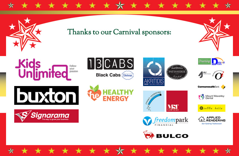 Thanks to our Carnival sponsors: Kids Unlimited, Buxton, Signarama, 13CABS, Healthy Energy, Interlude Patisserie, Lynn's Learning, MST Lawyers, Freedom Park Financial, Bulco and more
